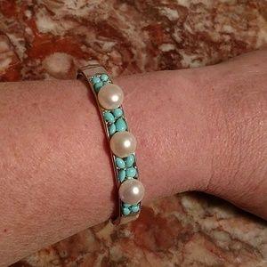 Rare honora sterling sleeping beauty pearl cuff